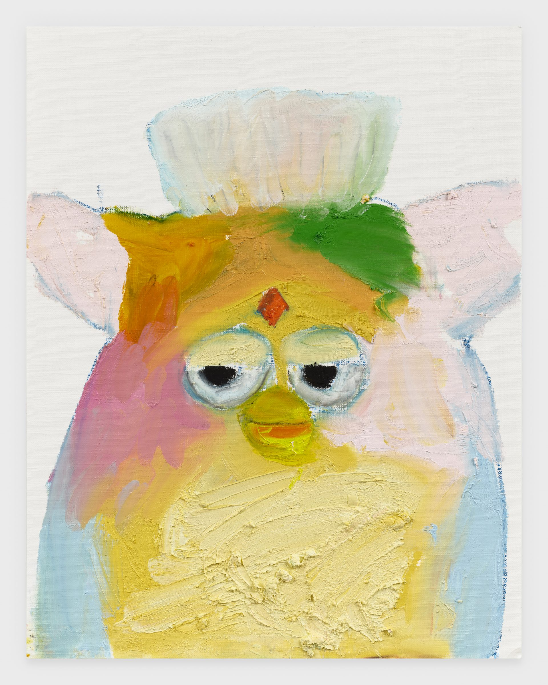 Rainbow Furby, 2020, Oil stick on archival paper, 11 x 14 inches