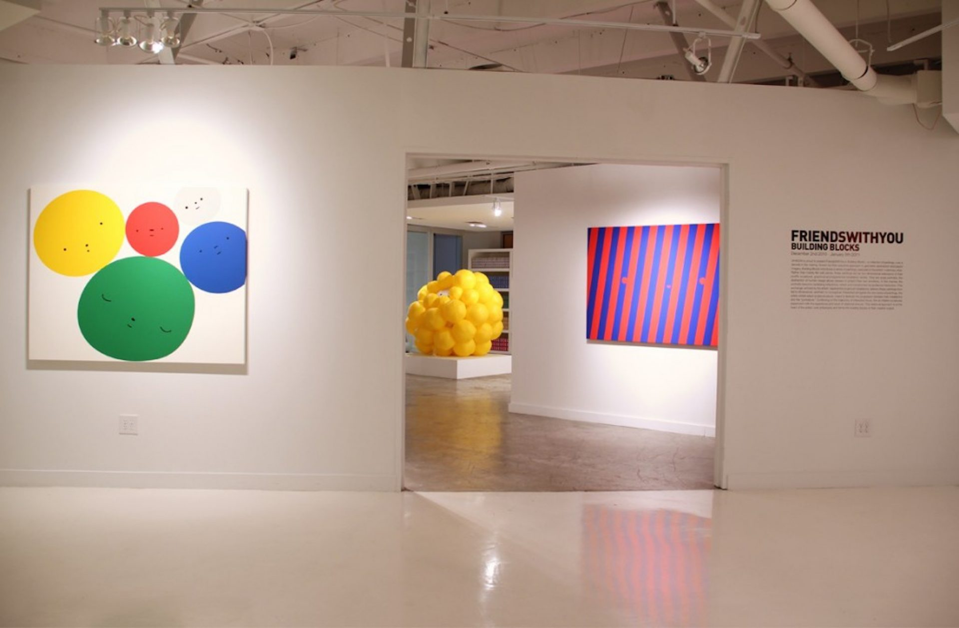 L to R; Happy thoughts, Cel-vinyl on wood panel, 60 inches W x 48 inches , 2010 - Bursting with Joy, Inflatable PVC, 4 feet W x 4 feet H - the Devil, Cel-vinyl on wood panel, 72 inches W x 48 inches H, 2010