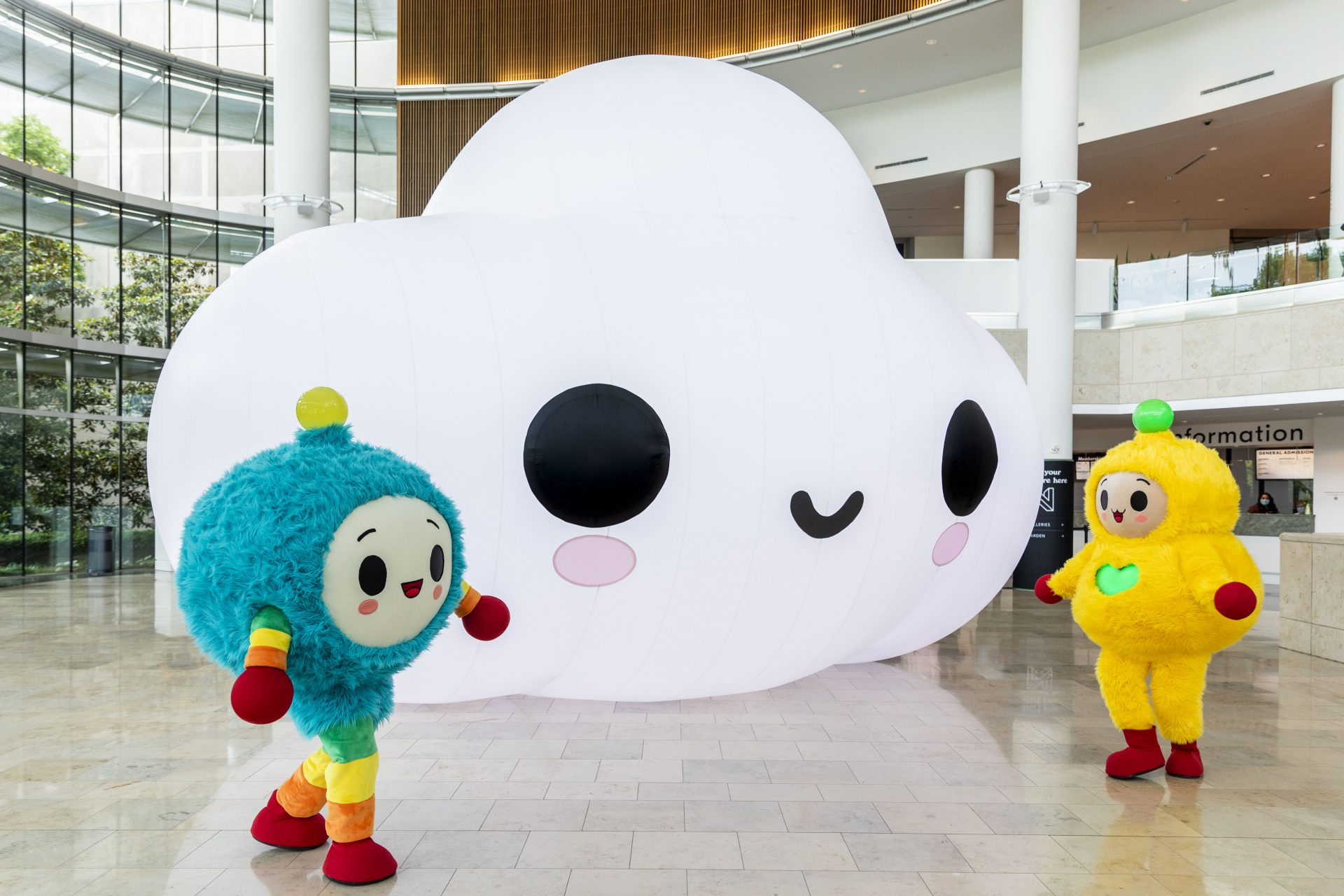 """Photo courtesy of Indianapolis Museum of Art at Newfields.""""Little Cloud"""", """"Peanut Butter"""", & """"Hug Bug"""", 2021, Commissioned by the Indianapolis Museum of Art at Newfields"""